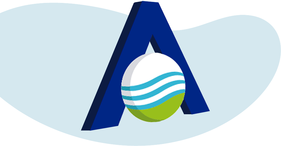 Ilustración azúl, el logo de grupo alonso en perspectiva