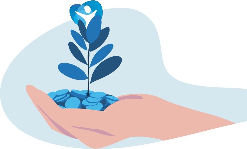 Ilustración azúl, una mano con monedas y una planta creciendo