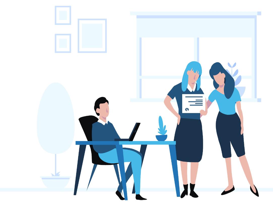 Ilustración azul de asesores trabajando