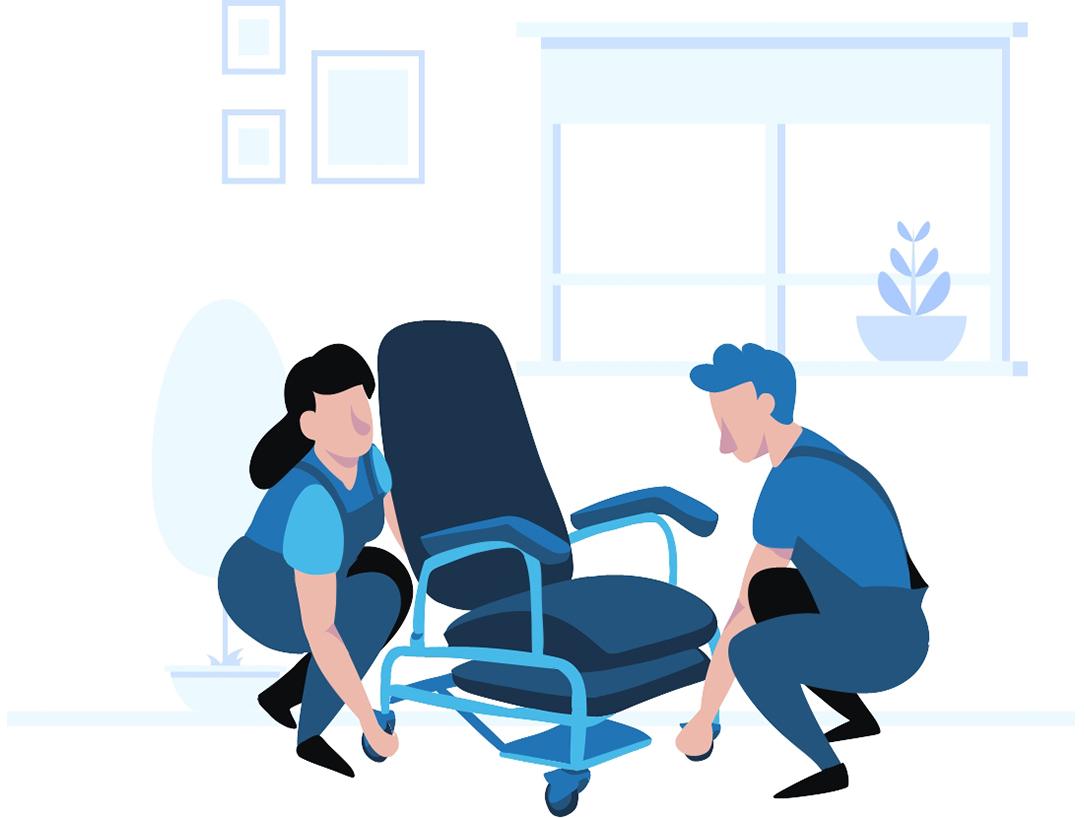 Ilustración corporativa azul de personas montando una silla