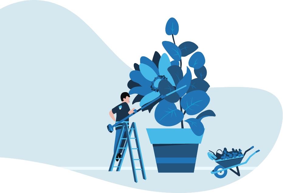 Ilustración azúl de un trabajador podando una planta