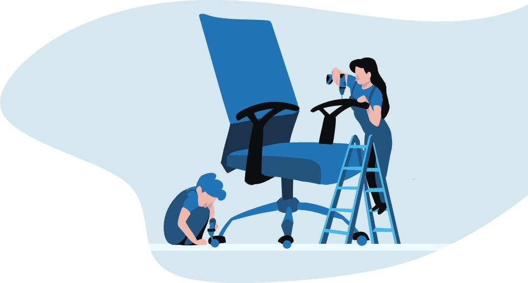 Ilustración azúl, una mujer y un hombre montando una silla