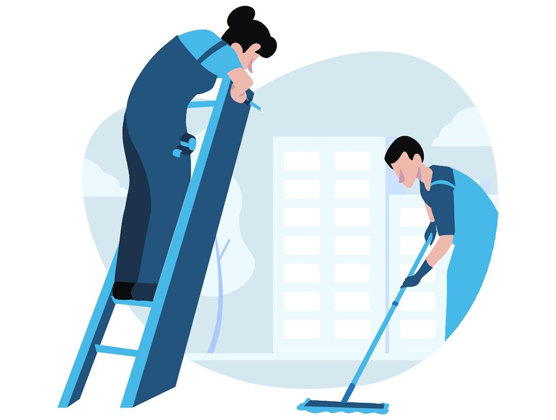Dos personas arreglando la ciudad